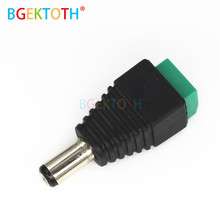 1 Pcs DC Power Male Konektor Plug 5.5X2.1 Mm Jack Konektor Adaptor untuk Lampu LED Strip 3528 5050 5630 5730 Hitam(China)