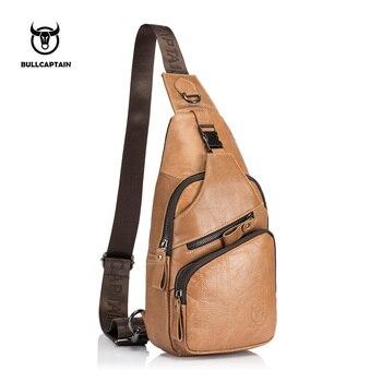 f0b83b43d6c6 BULLCAPTAIN 2019 Мужская нагрудная сумка на плечо модная сумка из натуральной  кожи Большая маленькая модель сумка повседневная сумка 105 L