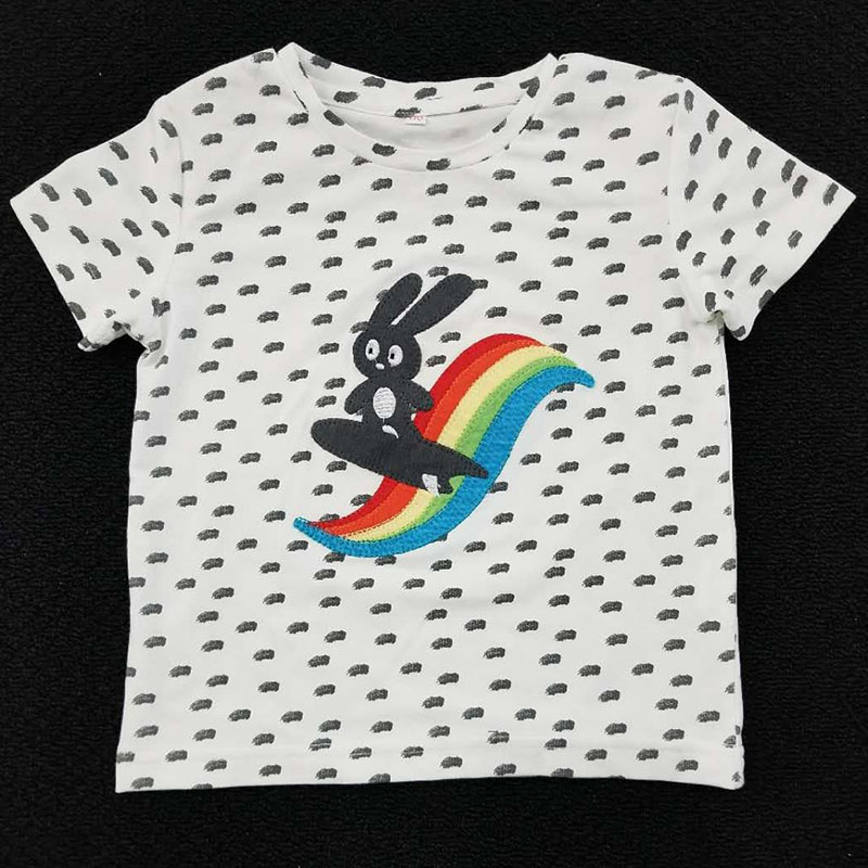 a8c6521f3 2018 Summer Rainbow Embroidery Design Tshirt for Boy Girl Kids White Cotton  Rabbit T Shirt Clothing Children Tops Clothes-in T-Shirts from Mother & Kids  on ...