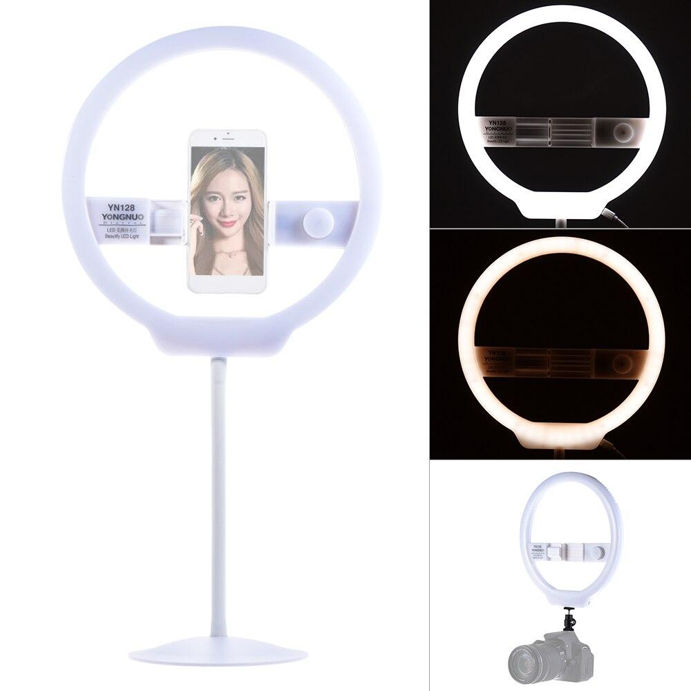 YONGNUO YN128 селфи кольцо света Камера фотостудия телефон 128 светодиодный кольцо света 3200-5500 К фотографии затемнения кольцо лампа Ringlight