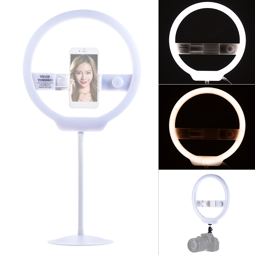 YONGNUO YN128 Selfie Ring Light Camera Photo Studio Phone 128 LED Ring Light 3200-5500K Photography Dimmable Ring Lamp Ringlight yongnuo yn128 yn 128 camera photo studio phone video 128 led ring light 3200k 5500k photography dimmable ring lamp