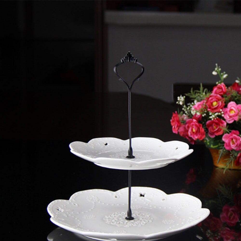 Металлический держатель для торта, подставка для торта, 2 уровня, фурнитура, 3 уровня, корона, металлическая пластина для торта, подставка для торта, вечерние, золотые, для дома, кухни, Аксессуары для выпечки - Цвет: 2  Layers black