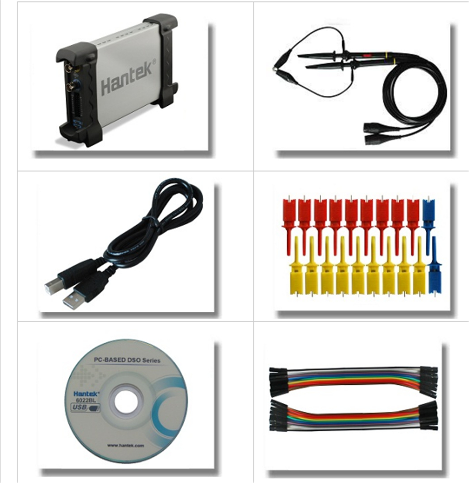 Hantek6022BE Hantek6022BL PC USB Oscilloscope 2 Digital Channels 20MHz Bandwidth 48MSa/s Sample Rate 16 Channels Logic Analyzer hantek 400msa s sampling rate pc usb logic analyzer hantek4032l 150mhz bandwidth