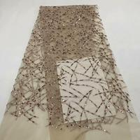 African double organza lace 2019 high quality french lace embroidered tulle sequins lace fabric Bridal Nigerian lace RFMAY253