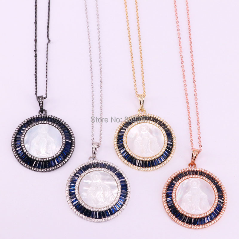 3Pcs Micro Pave Cz Zirconia Natural White Shell Virgin Mary Round Shaped Pendant Charm Chain Necklace Jewelry