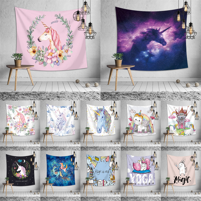 Anak Permadani Kartun Unicorn Dinding Poliester Seprai Kamar Tidur Anak Karpet untuk Apartemen Dekorasi Interior
