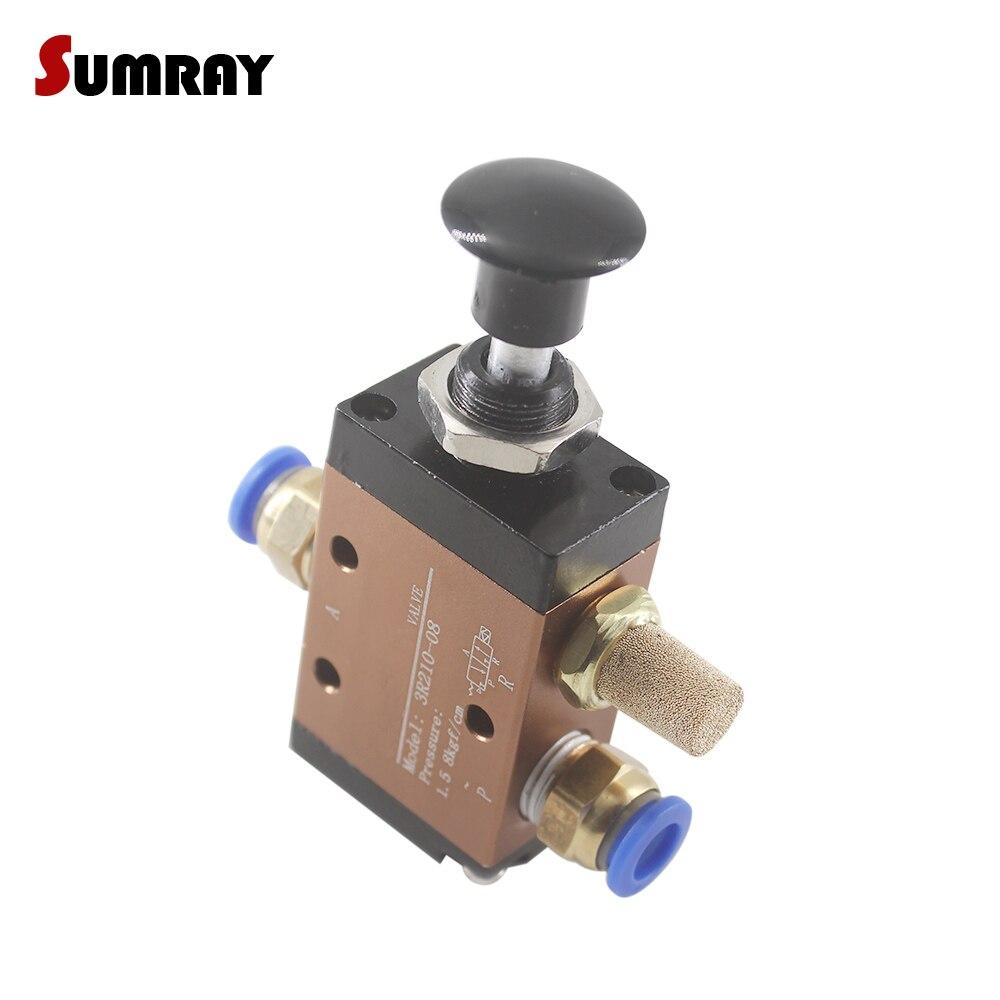SUMRAY 3R210-08/3R310-10 Push Pull Válvula Pneumática 3 Maneira 2 Posição da Mão-Operado Válvula de Controle Manual de Ação Direta válvula