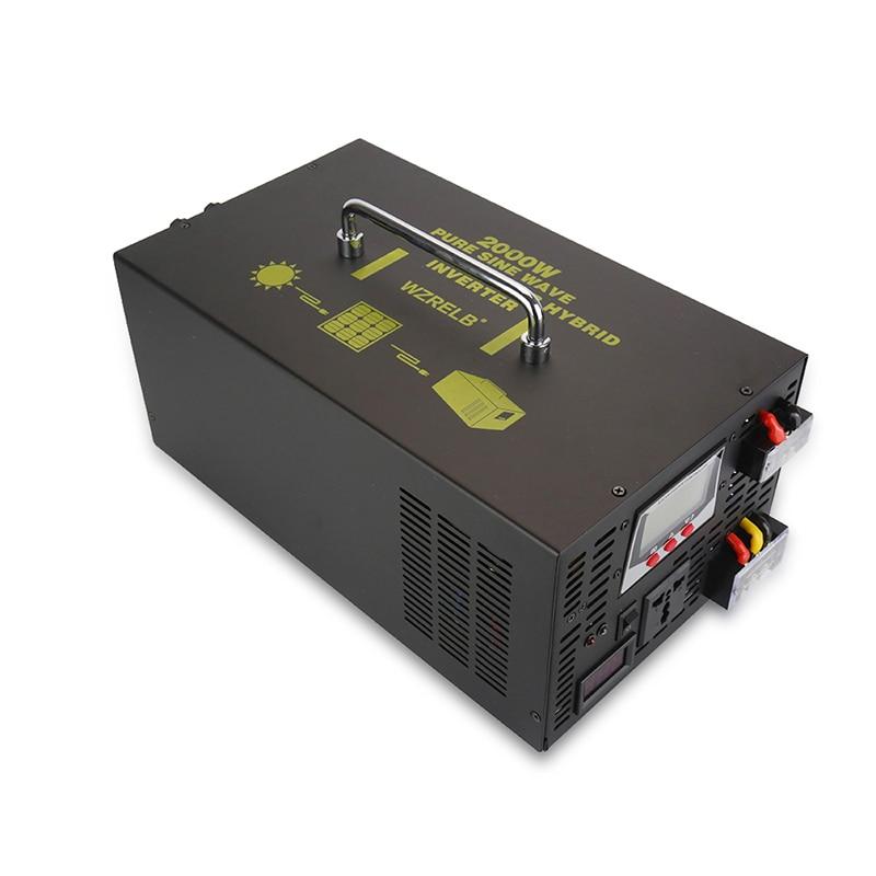 2000W Hybrid Power Inverter 12V 220V Pure Sine Wave Inverter Solar Panel 24V/48V DC to 120V/230/240V AC Converter 30A Controller solar power inverter 1000w 12v 220v pure sine wave inverter generator car battery pack converter 12v 24v dc to 110v 120v 240v ac