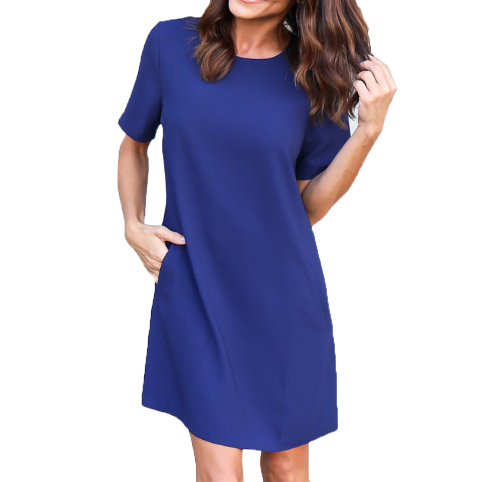 Solid Color Short Sleeve O-Neck Women Straight Dresses New Summer Casual Pockets Dress Ladies Loose Mini Dress