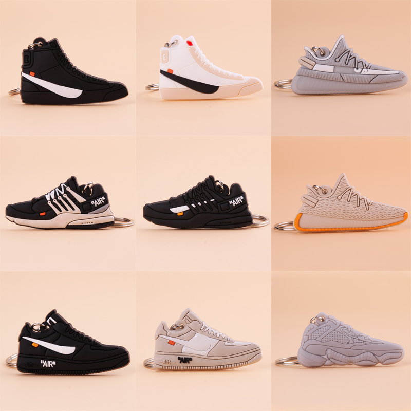 New Mini Shoe Off White Keychain Men Woman Kids Gift Key Ring Retro Basketball Sneaker Key Chain Porte Clef