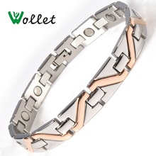 Wollet Jewelry 22cm Stainless Steel Magnetic Bracelet Bangle for Men Women Rose Gold Color Health Care One Row 5 In 1 All Magnet цена