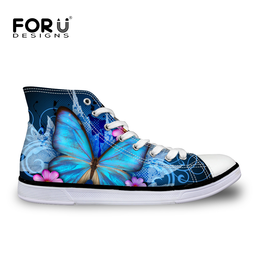 FORUDESIGNS 2018 Spring Women High Top Canvas Shoes Casual Vulcanize Flat Shoes Cute Animal Butterfly Printed Female Lacing Shoe