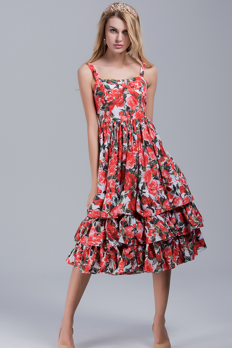 High quality 2018 summer new fashion red rose print lotus leaf side cascading cake type sexy harness beach style women dress