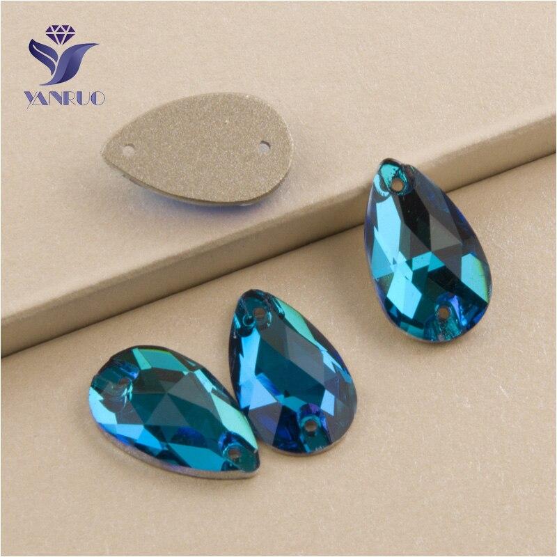 YANRUO 3230 toutes les tailles bleu Zircon Top qualité larme Flatback coudre sur cristal Strass poli Strass pour la décoration des vêtements