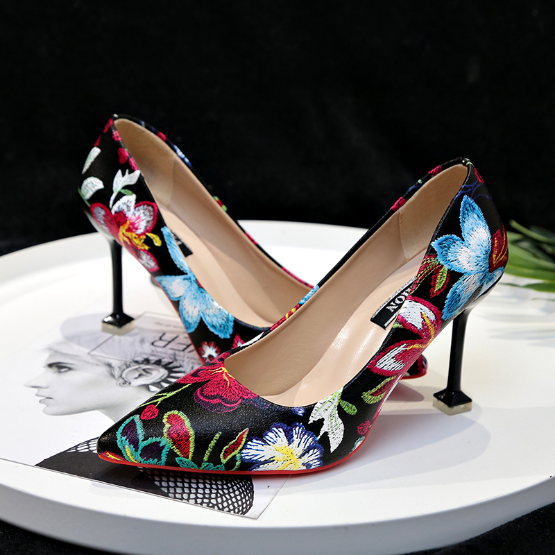 SEGGNICE Women High Heel Shoes 9CM Flower Embroidered Classic Ladies Party Sexy Shoes Women 39 s Pumps Toe Pointed Heels Female in Women 39 s Pumps from Shoes