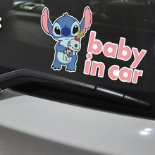 Car Sticker Stitch BABY IN CAR Warning Sticker Reflective Waterproof Vinyl Decal for Auto Motorcycle Suitcase Laptop frigerator(China)