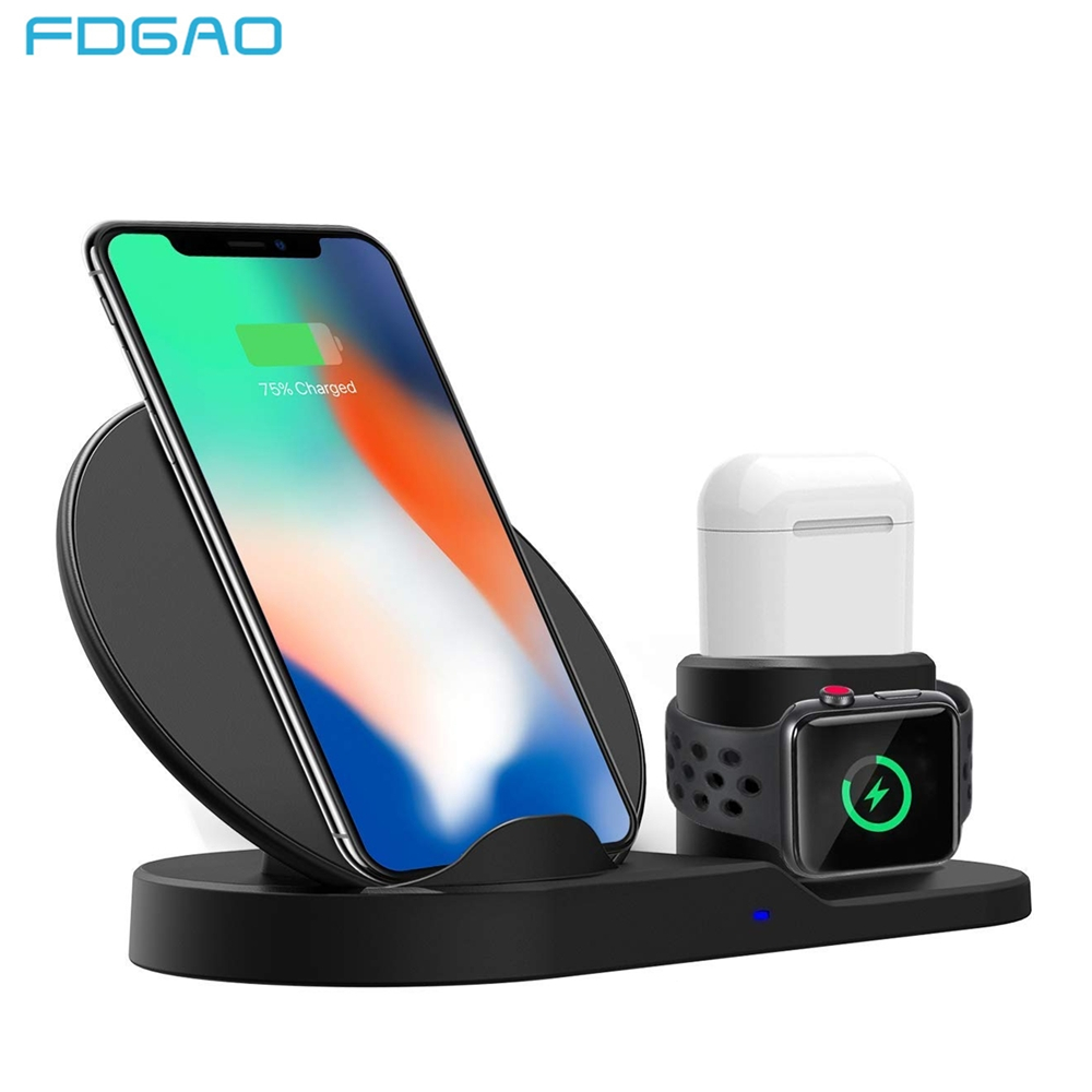 FDGAO 3 en 1 de carga rápida cargador inalámbrico Qi para Apple watch 2 3 4 Airpods para iPhone XS. XR 8X8 Plus Samsung S9 S8 Nota 9