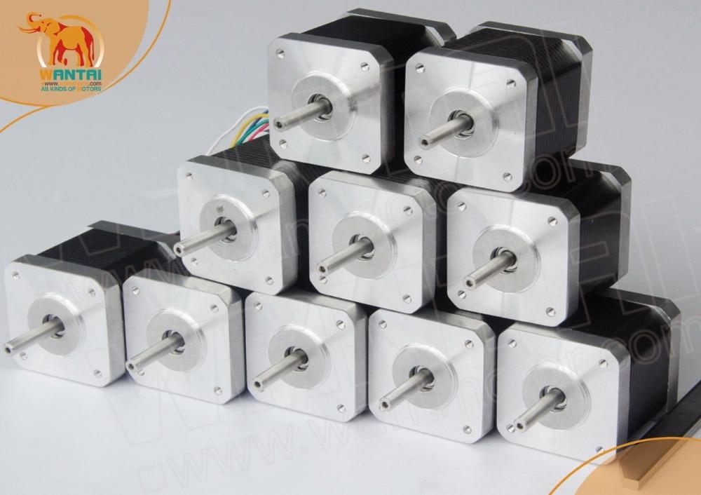 (EU free Tax) 10 PCS Wantai Nema 17 Stepper Motor 42BYGHW609, 4000g.cm,1.7A DIY CNC Robot 3D I3 Makebot Reprap Printer(CE,ROSH) eu free 5 pcs wantai 4 lead nema 17 stepper motor 42byghw609 4000kg cm 40mm 1 7a reprap a4988 3d printer diy