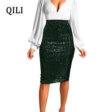 QILI Women Sequin Skirt Elegant Pencil Skirt Knee-Length Wrap Hip Slim Bottoms Evening Party Club Shiny Sequins Skirt 6 Color skirt nife skirt page 6
