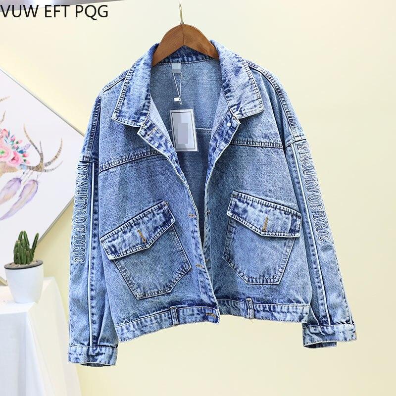 Lettre broderie Denim veste femmes 2019 nouveau lâche simple boutonnage Jeans manteau femmes étudiants BF vent veste de base manteaux