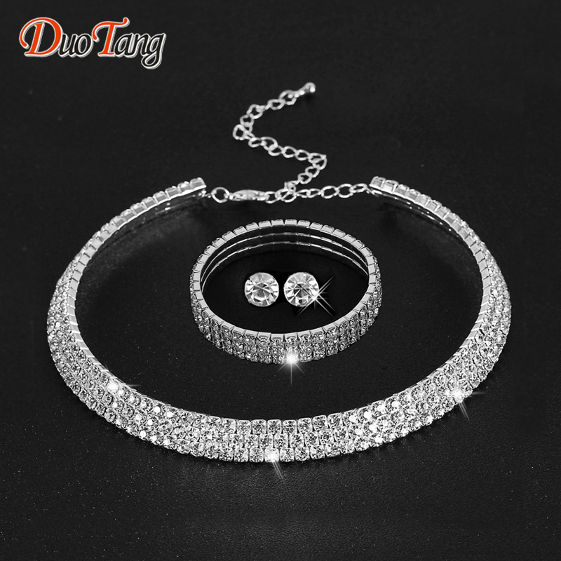 DuoTang Hot Selling Rhinestone Crystal Choker Necklace Earris