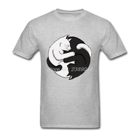 New Style Mens T Shirts Yin Yang Cats T Shirts Black And White Custom Made Simple