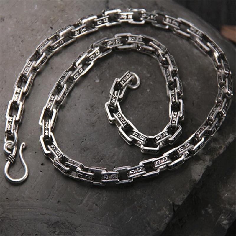 2018 202224 7mm 925 Thai Silver Box Bike Chain Necklace Duarable Six Words Buddhism Accessory Women Men Wholesale Bulk