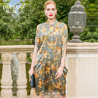 POKWAI миди цветочный Для женщин летние шелковые платье 2018 Новое поступление Мода Высокое качество Стенд воротник половина рукав летучая мыш