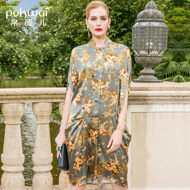 POKWAI Midi Floral Women Summer Silk Dress 2018 New Arrival Fashion High  Quality Stand Collar Half Batwing Sleeve Loose Dresses