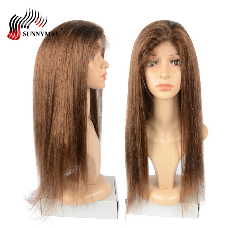Sunnymay Silk Base Full Lace Human Hair Wigs With Baby Hair 4 Color Straight Human Hair