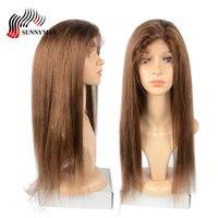 Sunnymay шелковая основа полный шнурок натуральные волосы парики с волосами младенца #4 цвета прямые натуральные волосы парики Glueless бразильски