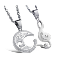 NIBA JEWELRY Lovers STAINLESS STEEL Necklace Puzzle Music Note Pendant Necklace Unique Design