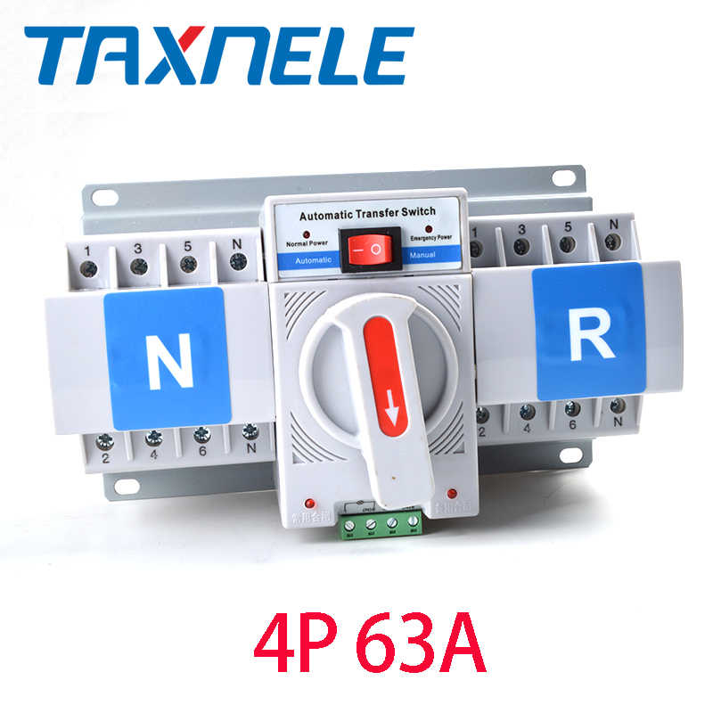 3P 4P 63A 380V 50/60hz 3 wire MCB type Dual Power Automatic transfer switch ATS