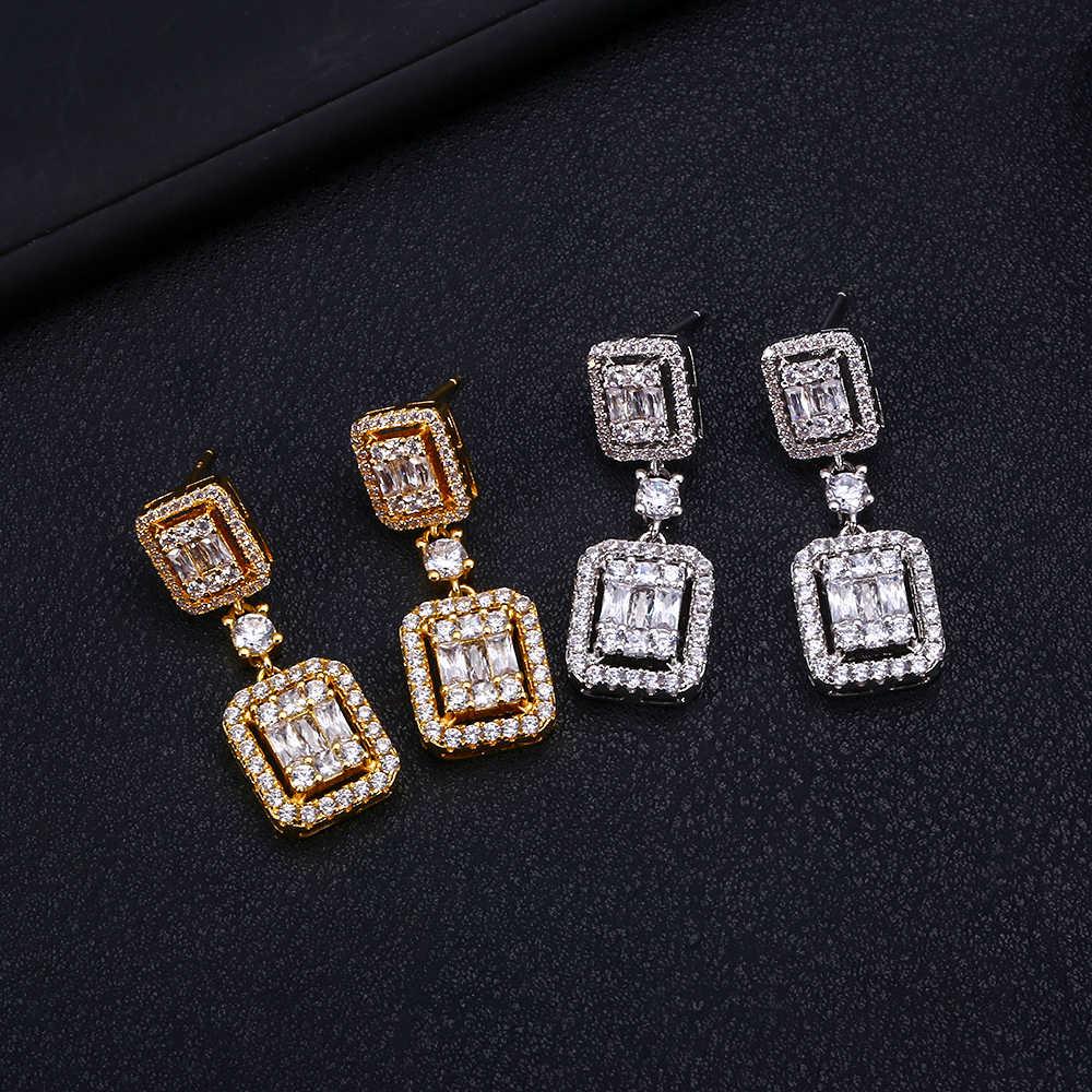 Jankelly Trendy Luxury Square Shape dangle ต่างหูสำหรับผู้หญิงงานแต่งงาน Cubic Zircon CZ ดูไบเจ้าสาวต่างหูโบฮีเมียร้อน 2019