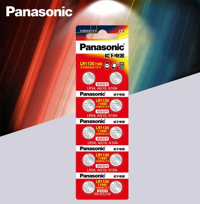 10pcs Panasonic Battery Cell 1.5V AG10 LR1130 Alkaline Button Battery AG10 389 LR54 SR54 SR1130W 189 LR1130 Button Batteries