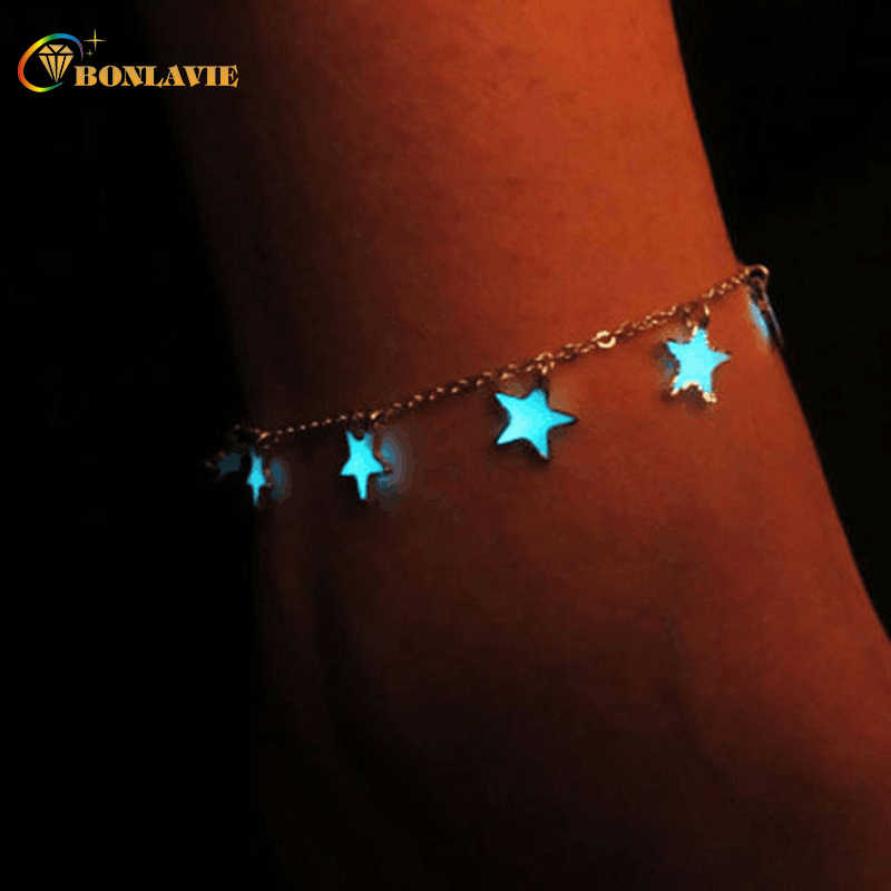 Fashion Trendy Fluorescent Bracelets&Bangles Heart Star Shape Bracelets Glow In The Dark Bracelet For Women