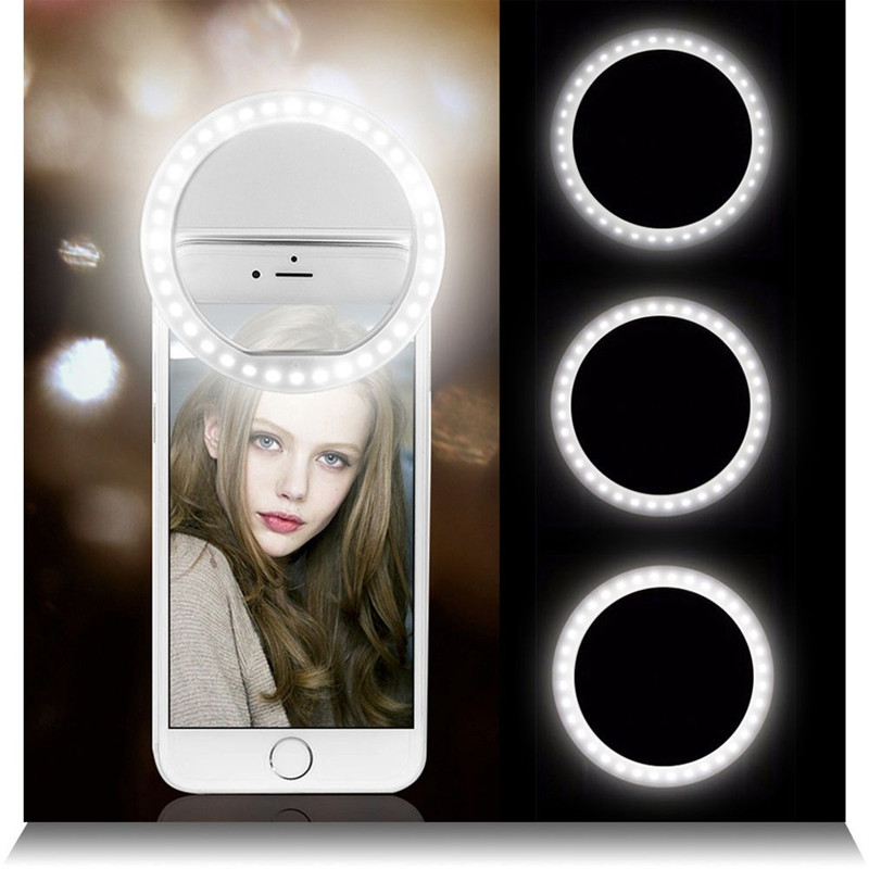 Selfie LED Ring Flash Lumiere Telephone Portable LED Mobile Phone Light Clip Lamp For iPhone xr telefoon lens lampka do telefonu(China)