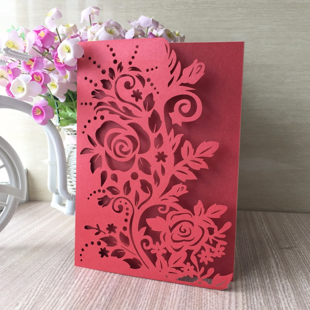 50pcs/lot Greeting Cards Christmas Birthday Valentine Laser Cut ...