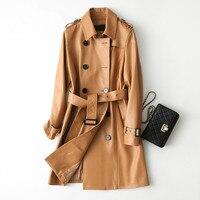 Настоящая Натуральная кожа куртка женская верхняя одежда 2018 зимнее пальто Женская овечья кожа куртка маленького размера, корейское произв...