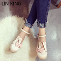 LIN KING New Fashion Women Flat Shoes Cute Sweet Rabbit Bowtie Short Shoes Bowtie Ankle Strap Solid Low Top Soft Lolita Shoes