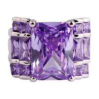 lingmei Wholesale Noble Unisex Emerald Cut Tourmaline Amethyst AAA Silver Ring Size 7 8 9 10 For Fashion Jewelry Free Shipping