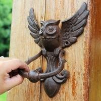 Europeu vintage voando coruja design casa porta punho de ferro fundido|Prateleiras decorativas| |  -