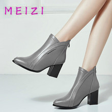MEIZI Elegant Square heel Boots for women 2017 New Genuine Leather winter Pointed Toe Riding Equestrian shoe fashion Martin boot