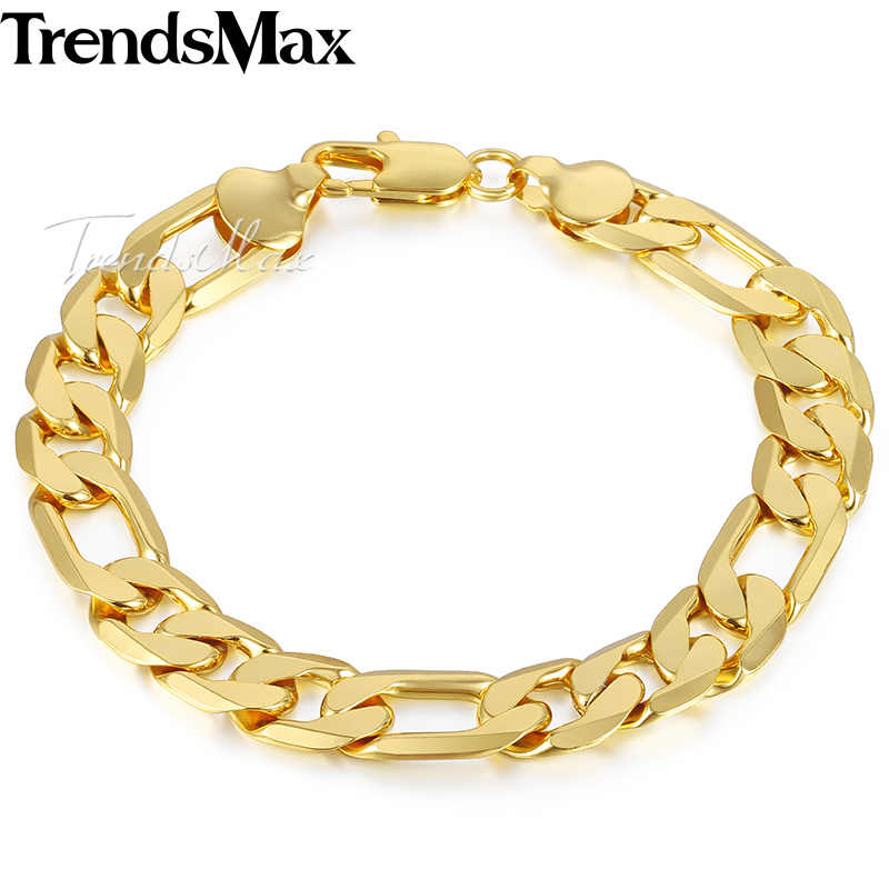 2180a5ac43 Trendsmax Men's Bracelet 2018 Gold Figaro Chain Bracelets For Men  Accessories Jewelry Gifts Dropshipping Wholesale 12mm