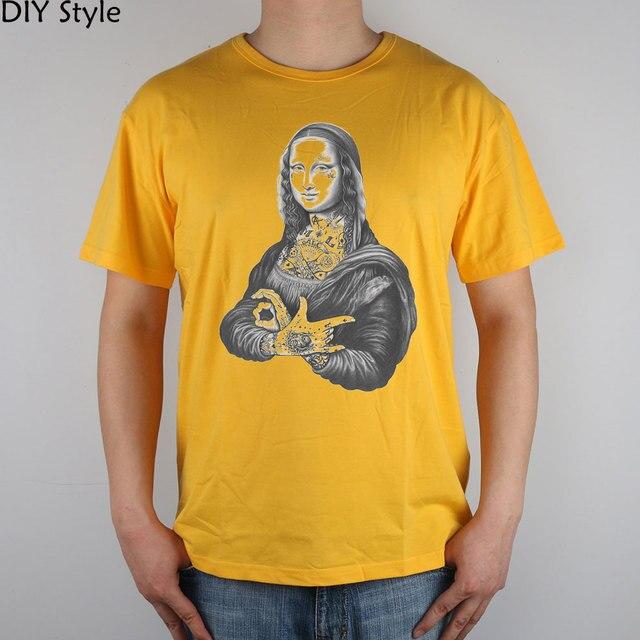 다빈치 문신 모나리자 락 반팔 티셔츠 탑 라이크라 코튼 남성 티셔츠 새로운 diy 스타일