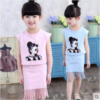 Kids girls Sleeveless suit new summer children's cotton Tassel T-shirt big girls two pieces skirt baby girl clothes 2-12 years 0