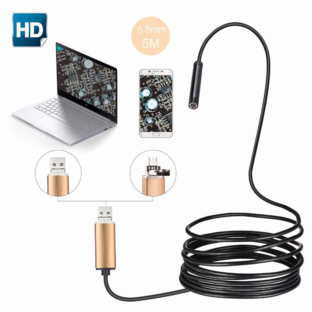 Portable 5.5mm USB Endoscope Waterproof IP67 Android Endoscope Tube Video Mini Camera Micro Camera Flexible 5M Cable