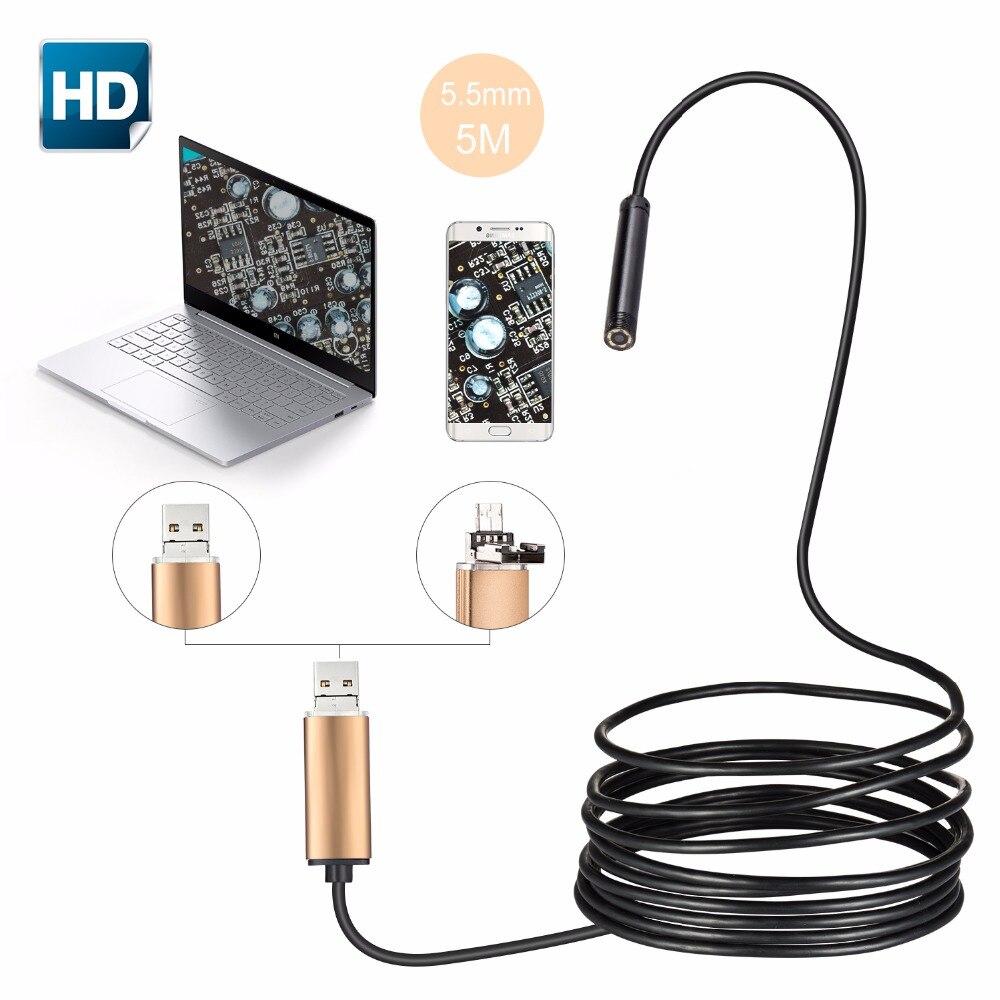 Portable 5.5mm USB Endoscope Waterproof IP67 Android Endoscope Tube Video Mini Camera Micro Camera Flexible 5M Cable