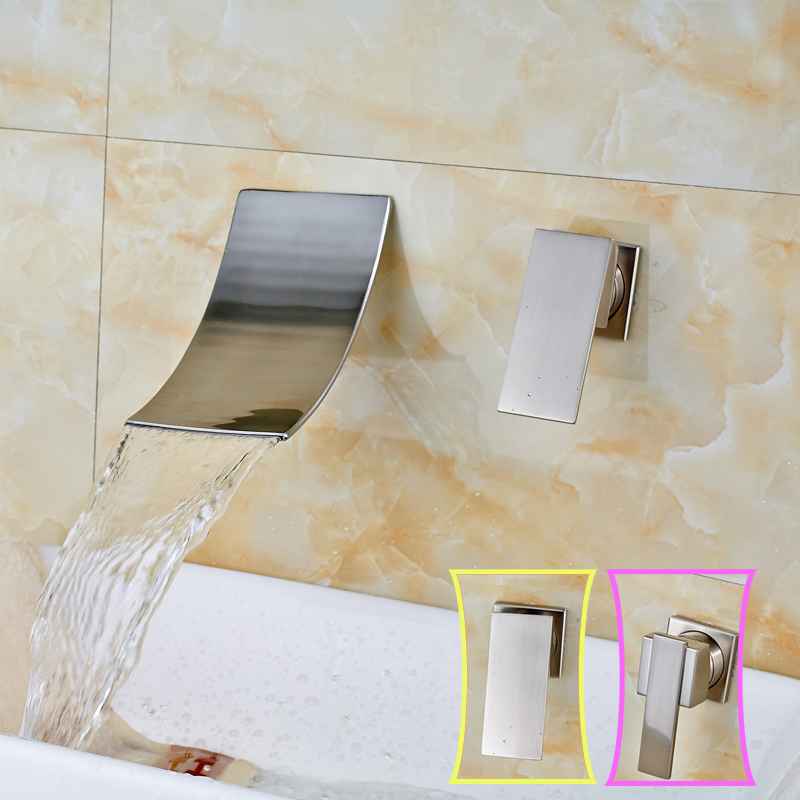 Luxury Wall Mounted Waterfall Spout Bathroom Faucet Single Lever Brushed Nickel Basin Sink Mixer Faucet Tap free shipping polished chrome finish new wall mounted waterfall bathroom bathtub handheld shower tap mixer faucet yt 5333
