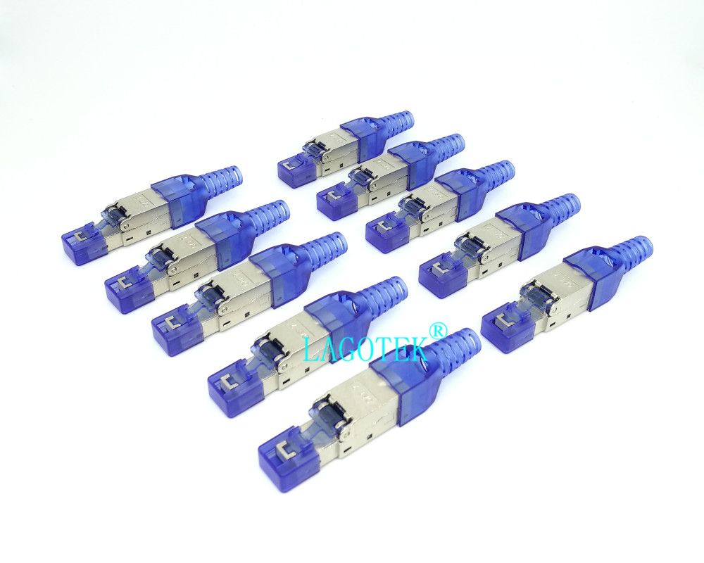 10Pcs/Lot  Tool Free Shielded RJ45 Cat 7 / Cat6A Termination Plug  Cat7 Plug / Cat7 Connector cat6A connectors  Modular 23/24AWGComputer  Cables